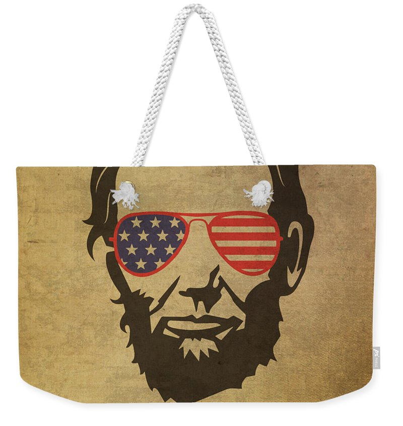 Lincoln Weekender Tote Bag featuring the mixed media Lincoln Merica by Design Turnpike