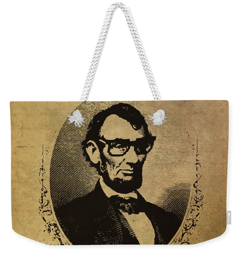 Lincoln Weekender Tote Bag featuring the mixed media Lincoln Nerd That Is So Fourscore And Seven Years Ago Color by Design Turnpike