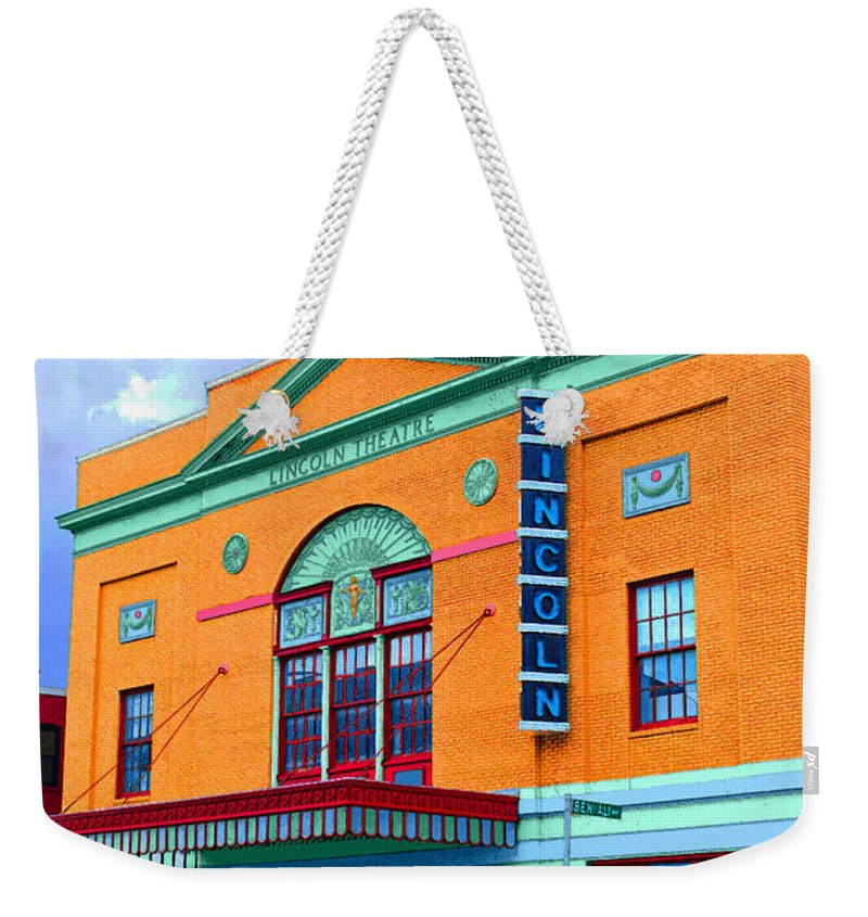 Lincoln Weekender Tote Bag featuring the photograph Lincoln Theatre - Dc by Jost Houk