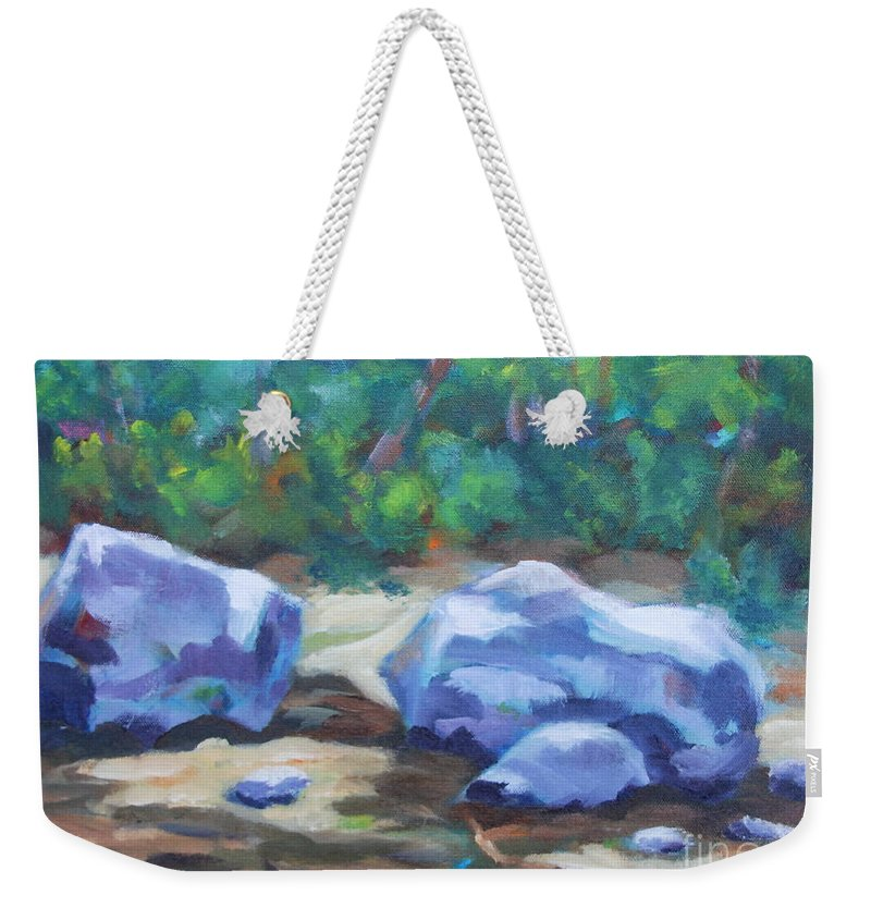 Expressionist Landscape Weekender Tote Bag featuring the painting Lindenlure by Jan Bennicoff