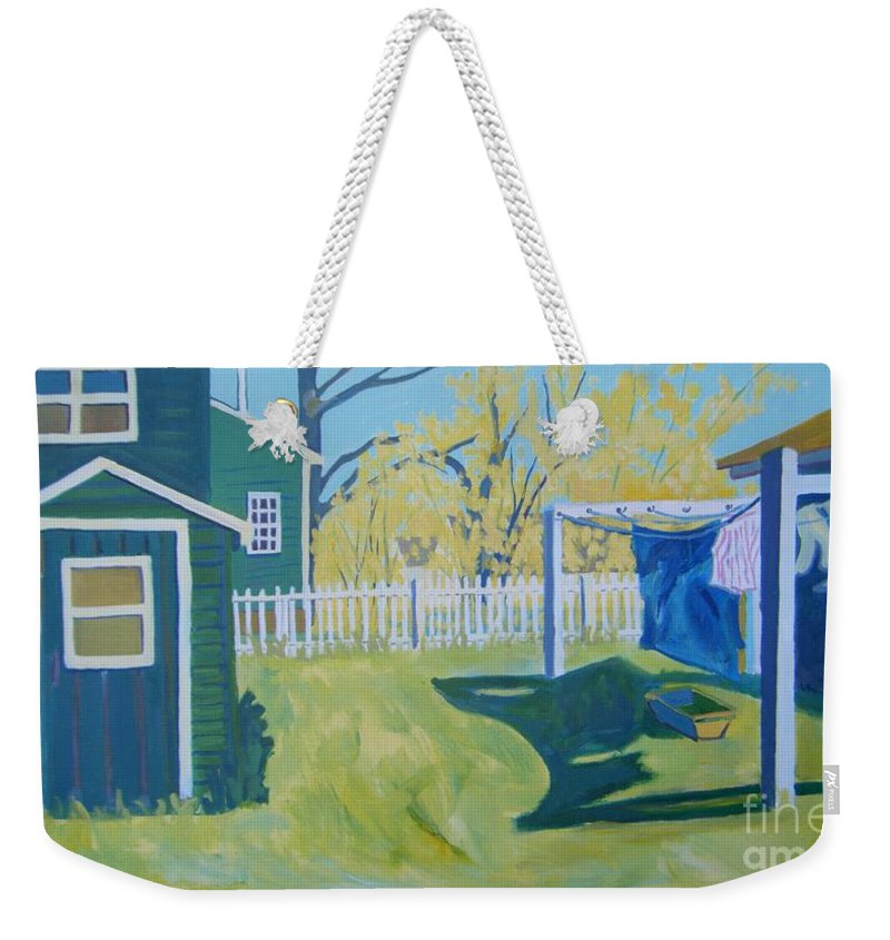 Backyard Weekender Tote Bag featuring the painting Line Of Wash by Debra Bretton Robinson