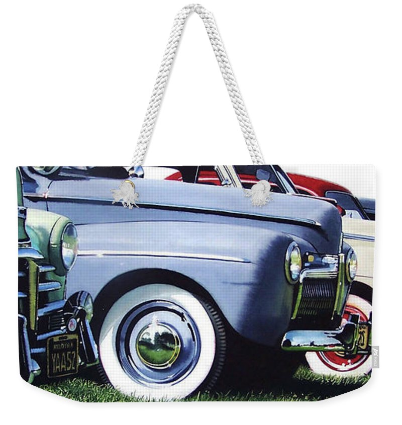 Antique Cars Weekender Tote Bag featuring the painting Line Up by Denny Bond