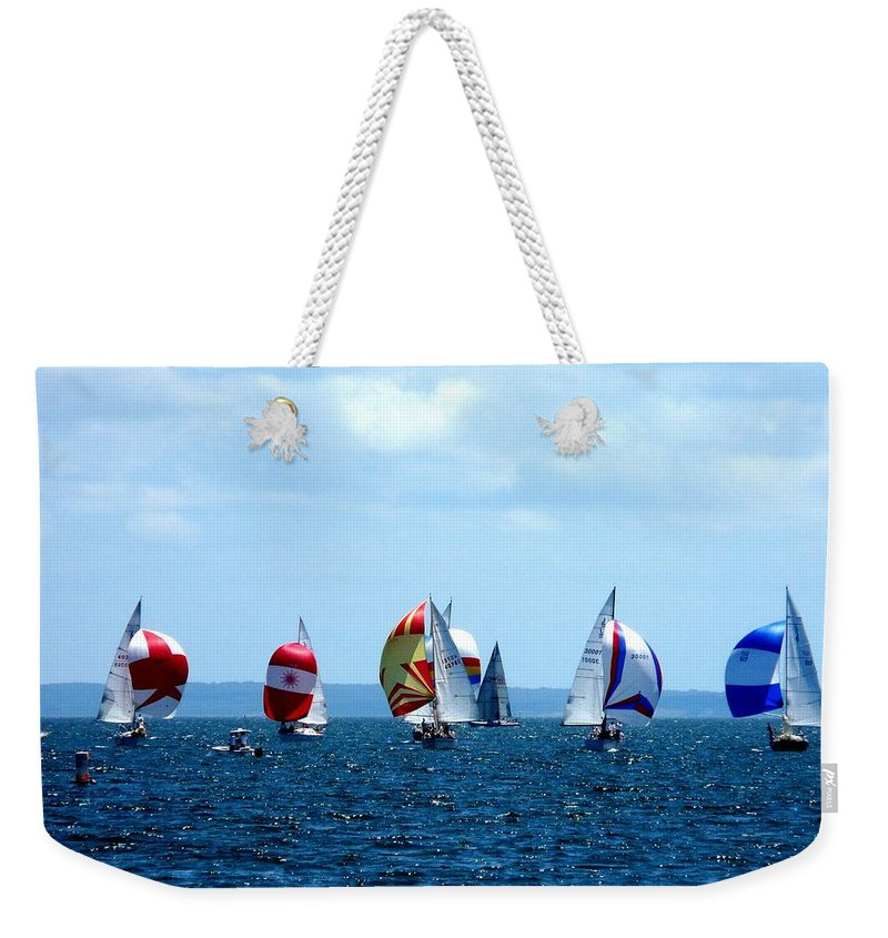 Landscape Weekender Tote Bag featuring the photograph Line Up by Kendall Eutemey