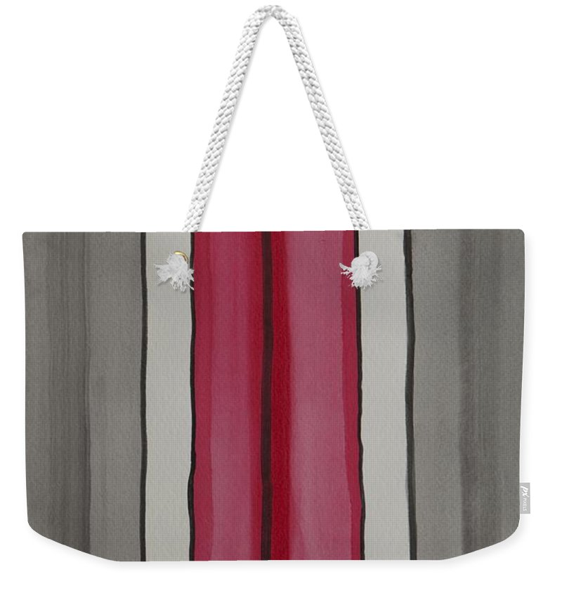 Red Weekender Tote Bag featuring the painting Lines by Jacqueline Athmann
