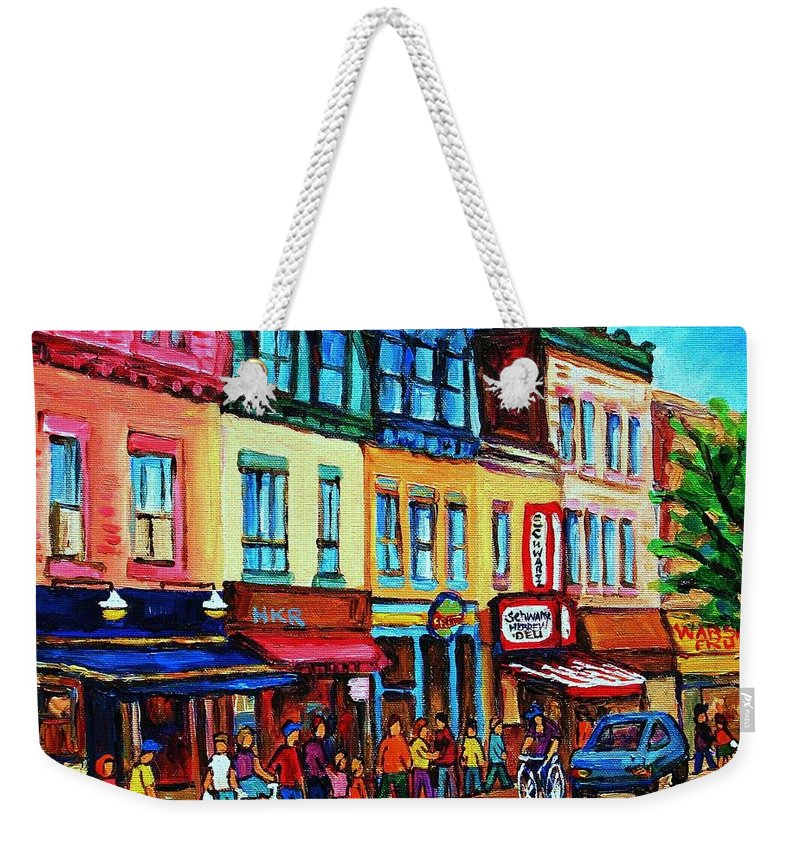 Cityscape Weekender Tote Bag featuring the painting Lineup For Smoked Meat Sandwiches by Carole Spandau