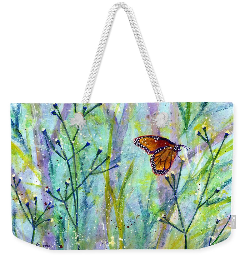 Butterfly Weekender Tote Bag featuring the painting Lingering Memory 1 by Hailey E Herrera