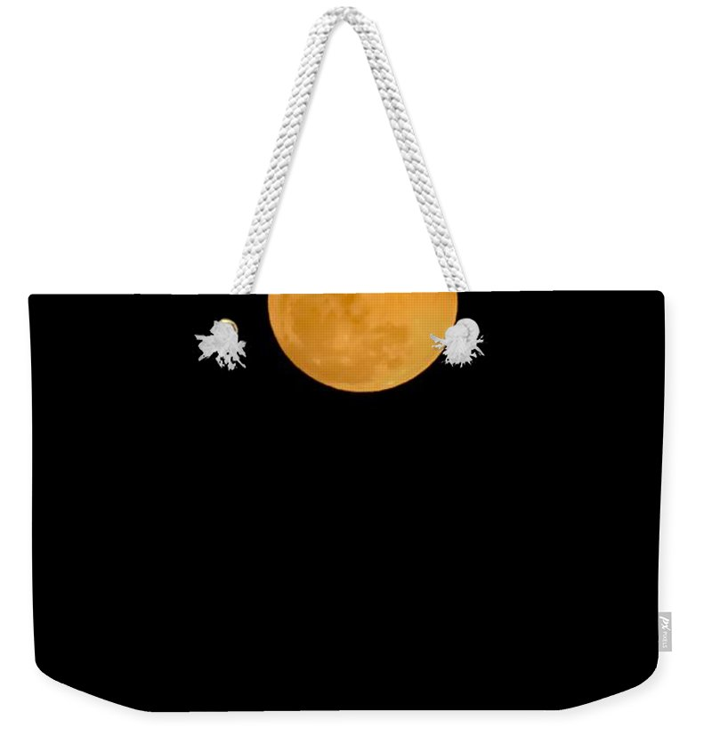 Lunar Weekender Tote Bag featuring the digital art Linten Moon by DigiArt Diaries by Vicky B Fuller