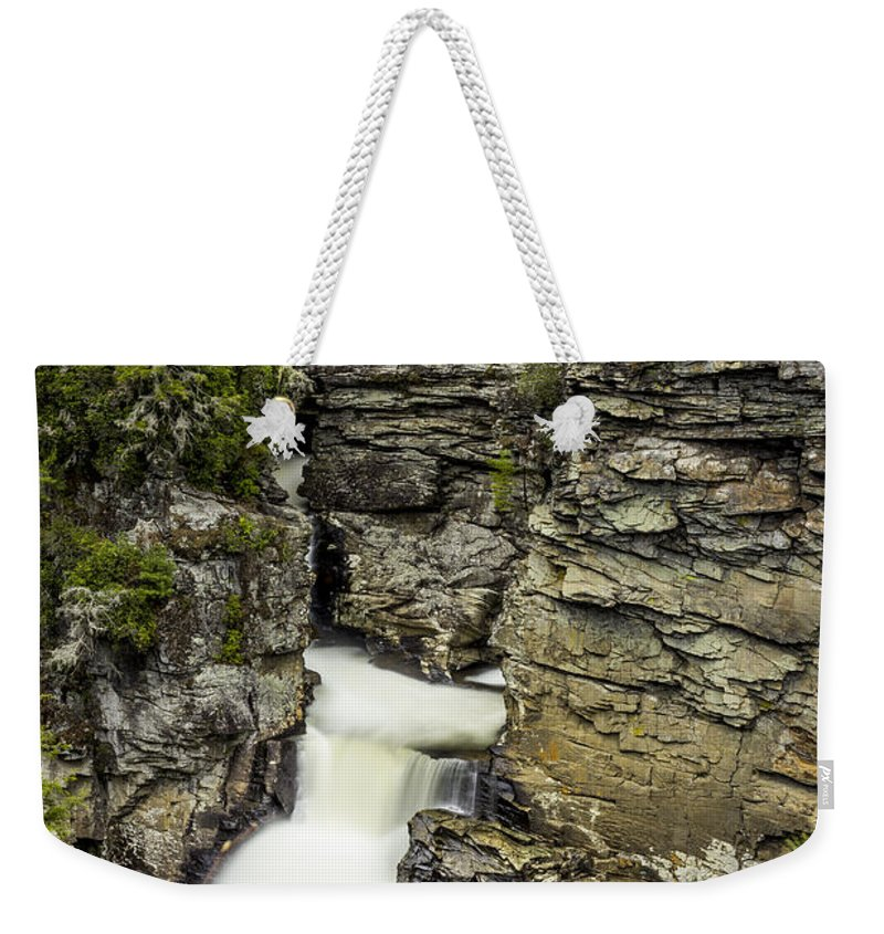 Waterfall Weekender Tote Bag featuring the photograph Linville Falls The Upper View by Stephen Brown