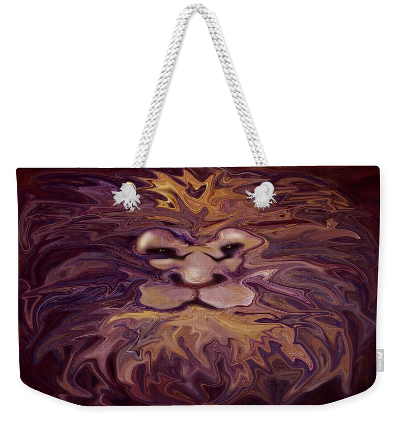 Lion Weekender Tote Bag featuring the painting Lion Abstract by Kevin Middleton