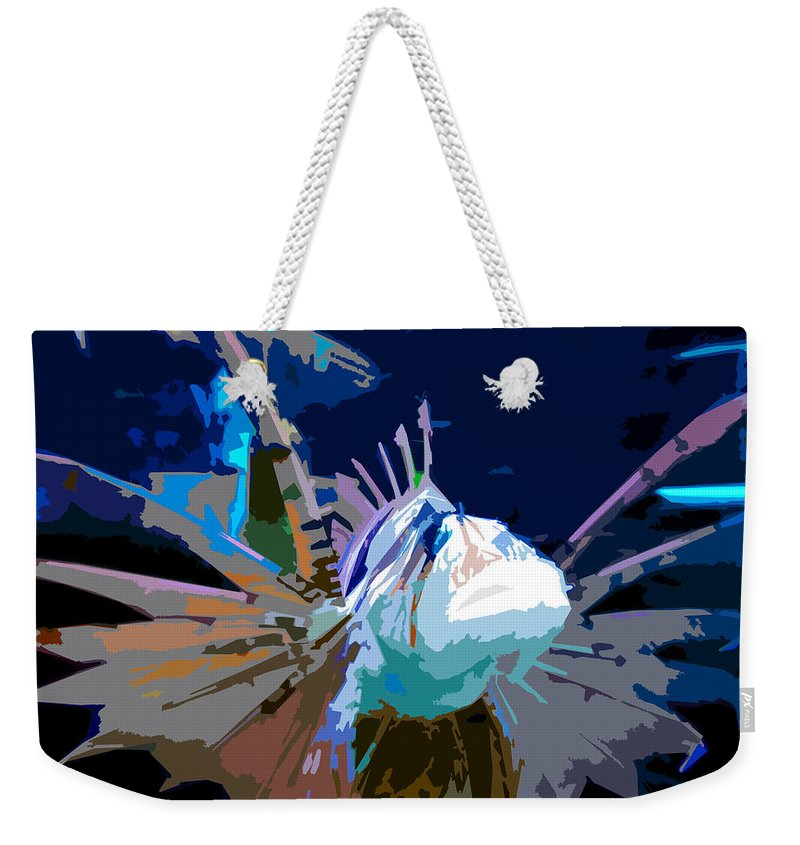 Lion Fish Weekender Tote Bag featuring the painting Lion Fish by David Lee Thompson