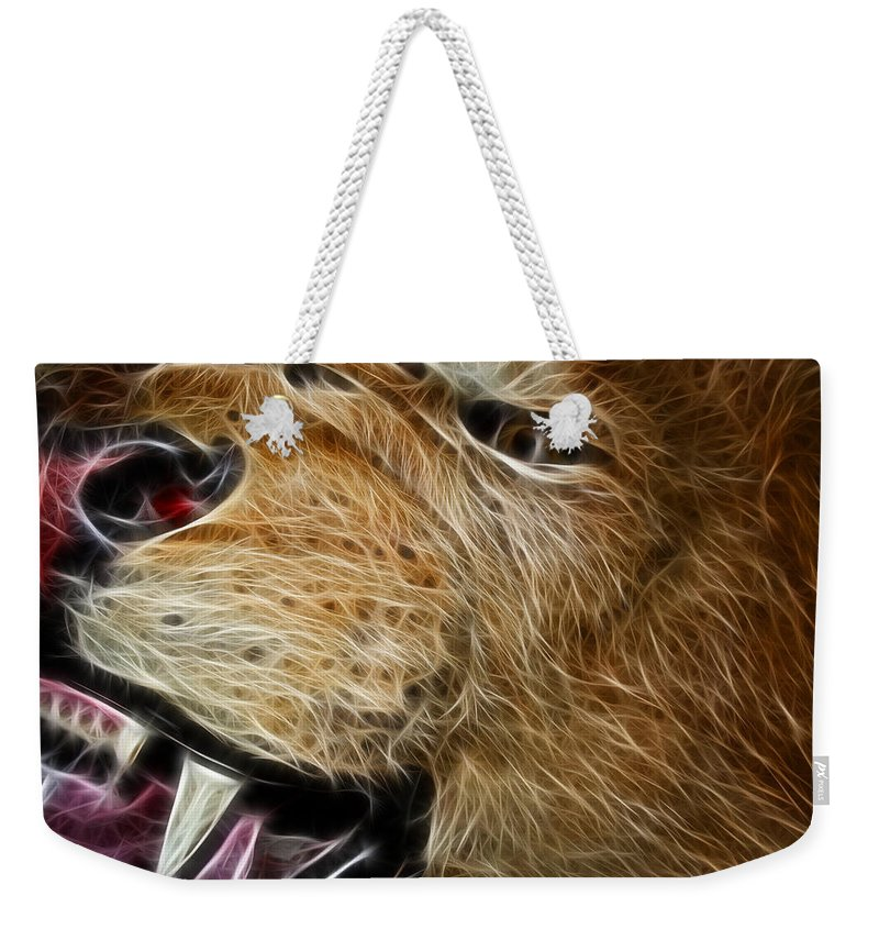 Lion Weekender Tote Bag featuring the photograph Lion Fractal by Shane Bechler