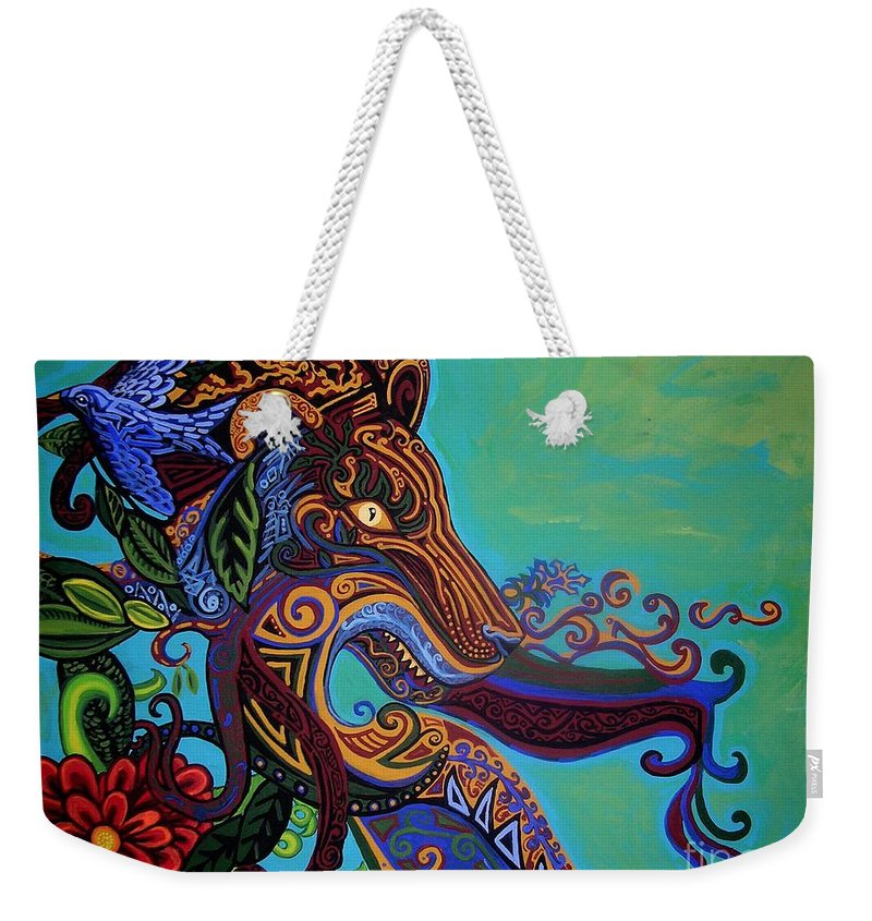 Gargoyle Lion Weekender Tote Bag featuring the painting Lion Gargoyle by Genevieve Esson