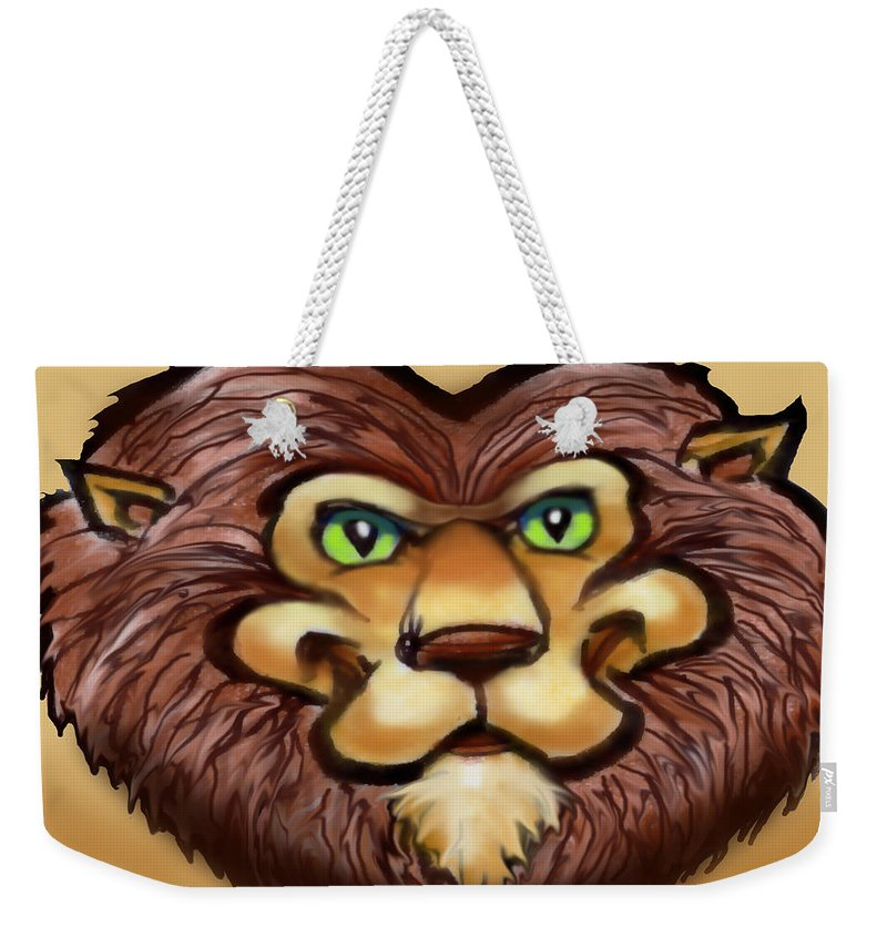 Lion Weekender Tote Bag featuring the painting Lion by Kevin Middleton
