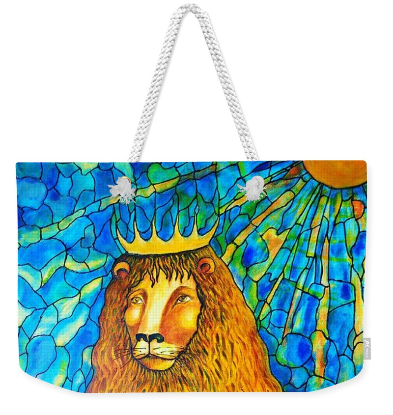 Original Art Weekender Tote Bag featuring the painting Lion-king by Rae Chichilnitsky