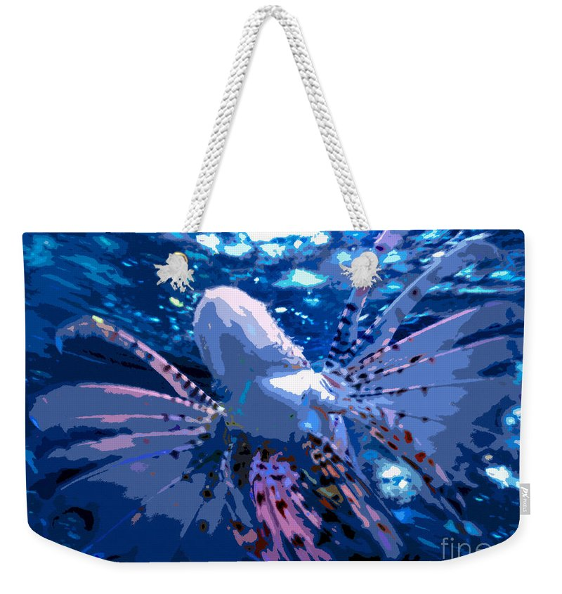 Lion Fish Weekender Tote Bag featuring the painting Lion Of The Deep by David Lee Thompson