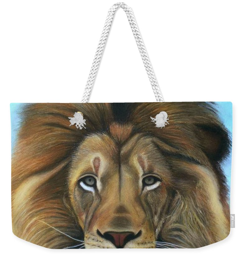Lion Weekender Tote Bag featuring the pastel Lion - The Majesty by Vishvesh Tadsare