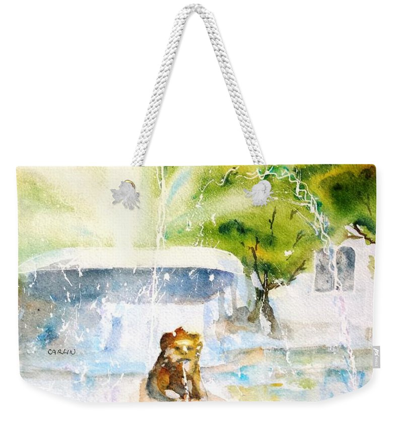 Puerto Rico Weekender Tote Bag featuring the painting Lions Fountain Plaza Las Delicias Ponce Cathedral Puerto Rico by Carlin Blahnik CarlinArtWatercolor