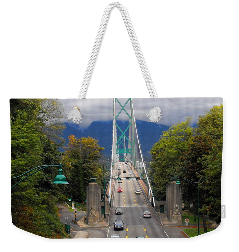 ruth Palmer Weekender Tote Bag featuring the photograph Lion's Gate Bridge by Ruth Palmer
