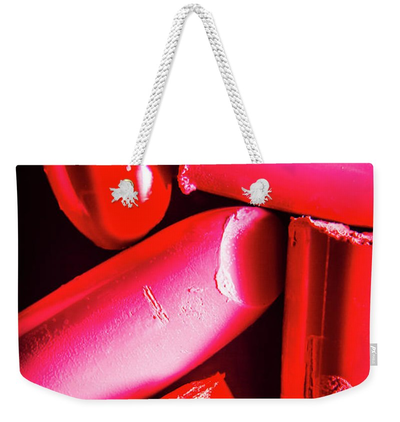 Make-up Weekender Tote Bag featuring the photograph Lipgloss And Letdown by Jorgo Photography - Wall Art Gallery