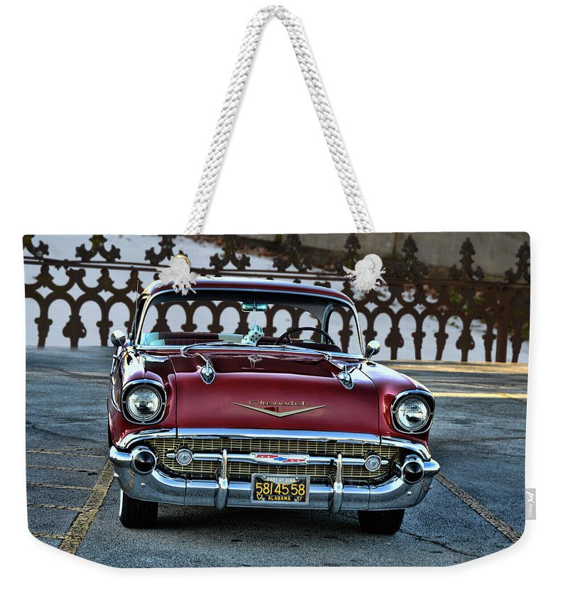 1957 Weekender Tote Bag featuring the photograph Lipstick Red At The Gate by Lesa Fine