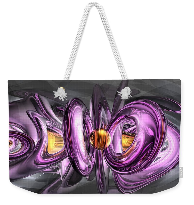 3d Weekender Tote Bag featuring the digital art Liquid Amethyst Abstract by Alexander Butler