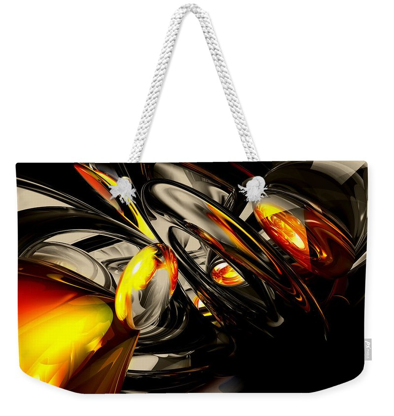 3d Weekender Tote Bag featuring the digital art Liquid Chaos Abstract by Alexander Butler