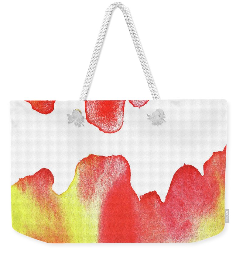 Liquid Weekender Tote Bag featuring the painting Liquid Fire Watercolor Abstract II by Irina Sztukowski
