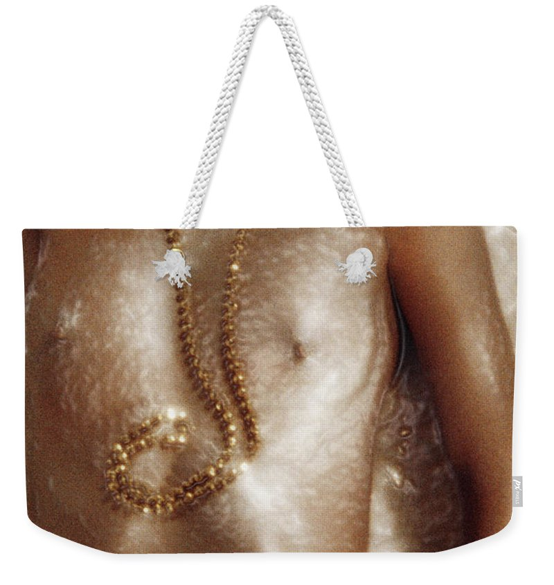 Nude Weekender Tote Bag featuring the photograph Liquid Gold by Herman Robert