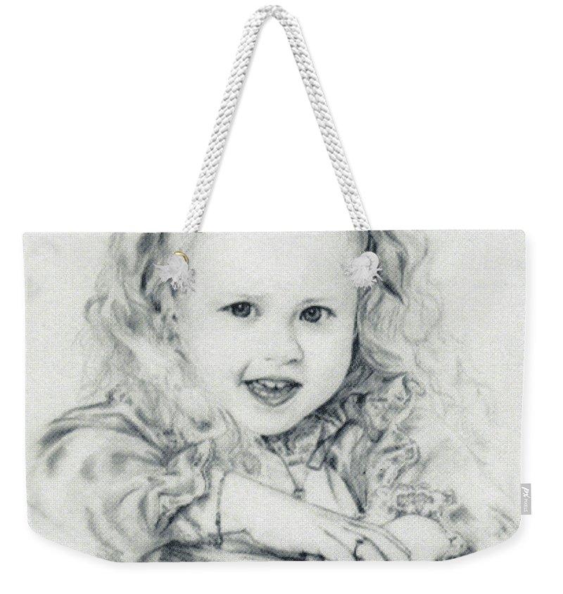 Portrait Weekender Tote Bag featuring the drawing Lisa by Rachel Christine Nowicki