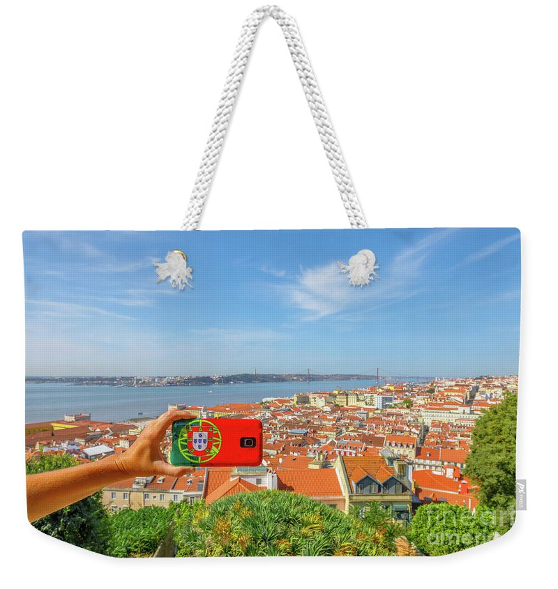 Lisbon Weekender Tote Bag featuring the photograph Lisbon Pictures Aerial by Benny Marty