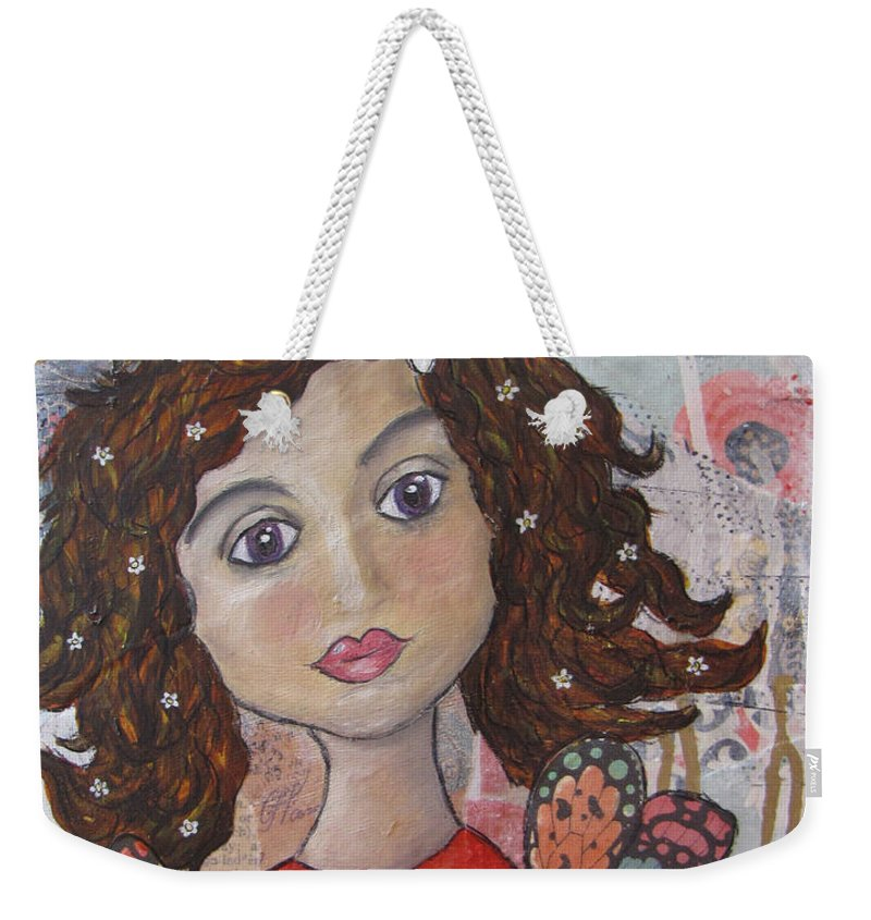 Angel Weekender Tote Bag featuring the painting Listen To Your Soul Urges by Heather Shalhoub