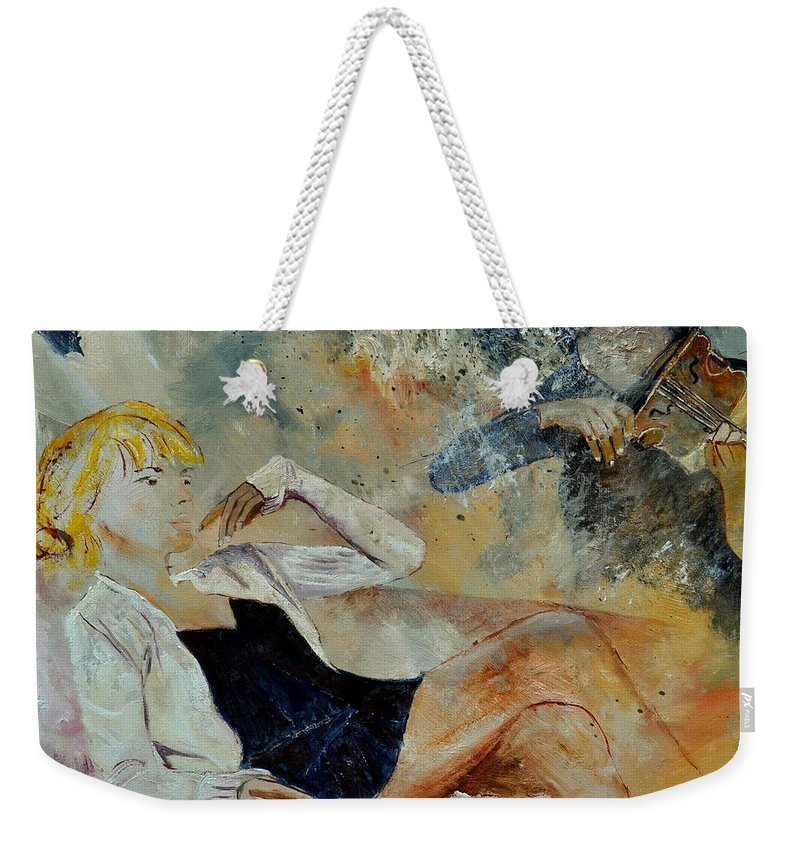 Misic Weekender Tote Bag featuring the painting Listening To The Violin by Pol Ledent
