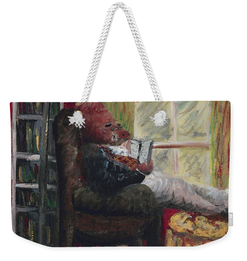 Hog Weekender Tote Bag featuring the painting Literary Escape by Nadine Rippelmeyer