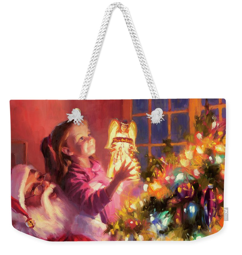Christmas Weekender Tote Bag featuring the painting Little Angel Bright by Steve Henderson