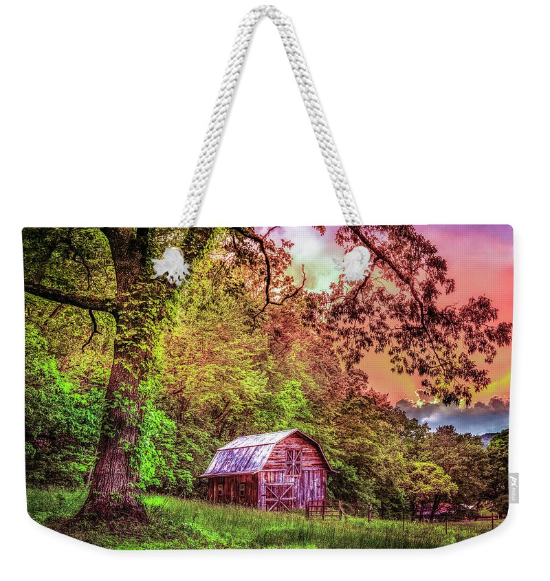 Appalachia Weekender Tote Bag featuring the photograph Little Barn In The Smokies by Debra and Dave Vanderlaan