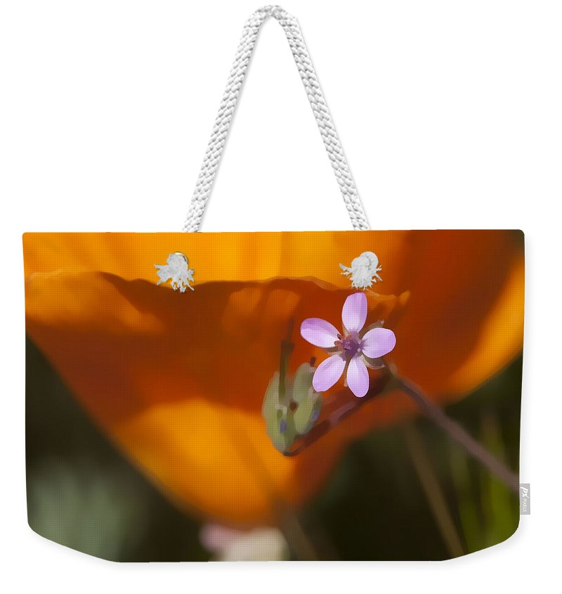 Wildflower Weekender Tote Bag featuring the digital art Little Beauty by Sharon Foster