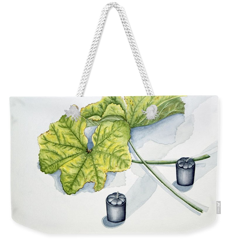 Candles Weekender Tote Bag featuring the painting Little Black Candles by Judy Henninger