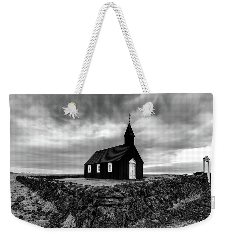 Iceland Weekender Tote Bag featuring the photograph Little Black Church 2 by Larry Marshall
