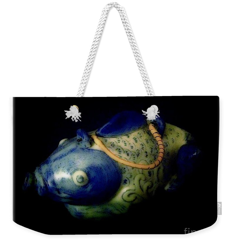 Fish Weekender Tote Bag featuring the photograph Little Blue And White Fish Tea Pot Still Life by Debra Lynch