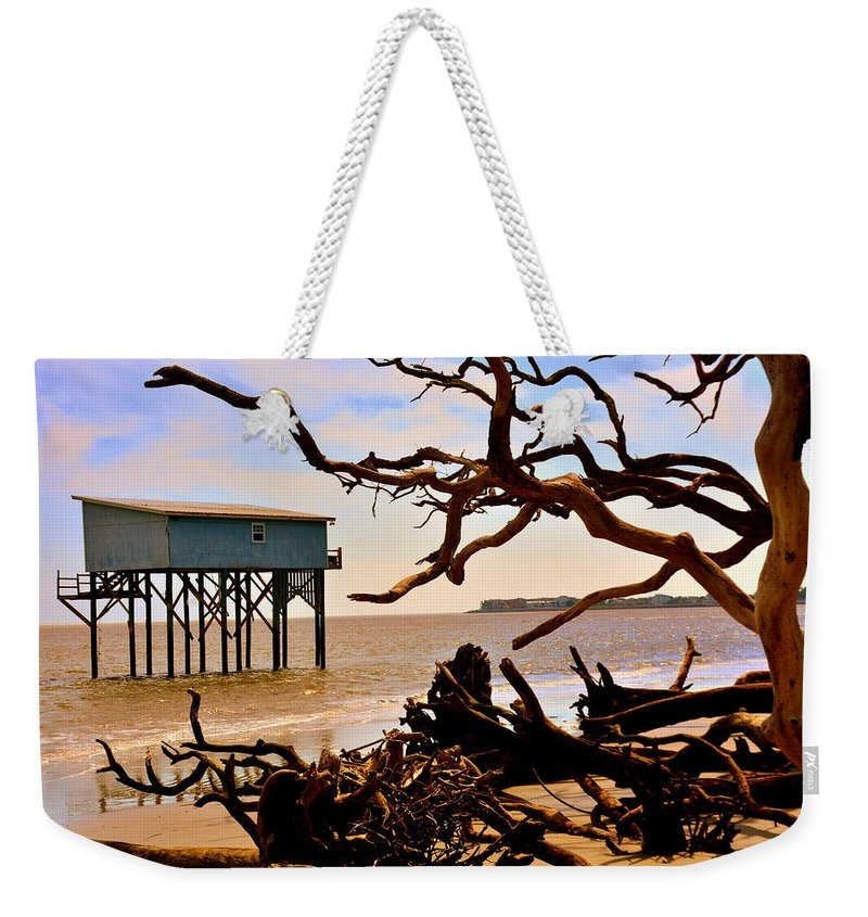 Little Blue Hunting Island State Park Beaufort Sc Weekender Tote Bag featuring the photograph Little Blue Hunting Island State Park Beaufort Sc by Lisa Wooten