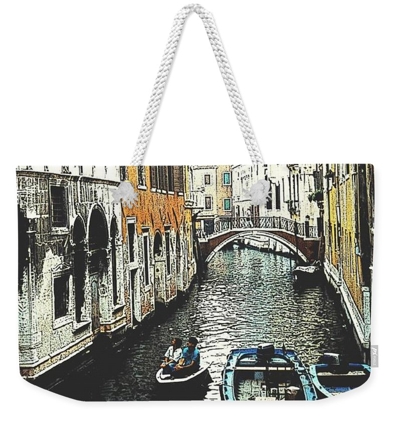 Venice Weekender Tote Bag featuring the photograph Little Boat In Venice by Ian MacDonald