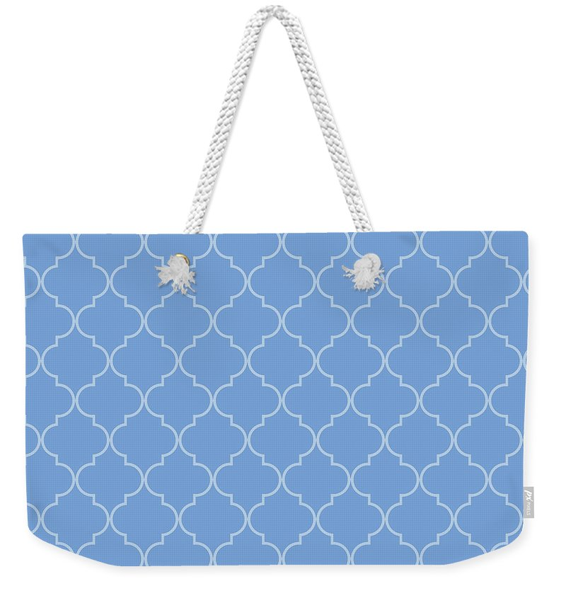 Quatrefoil Weekender Tote Bag featuring the digital art Little Boy Blue Quatrefoil by Ashley Wann