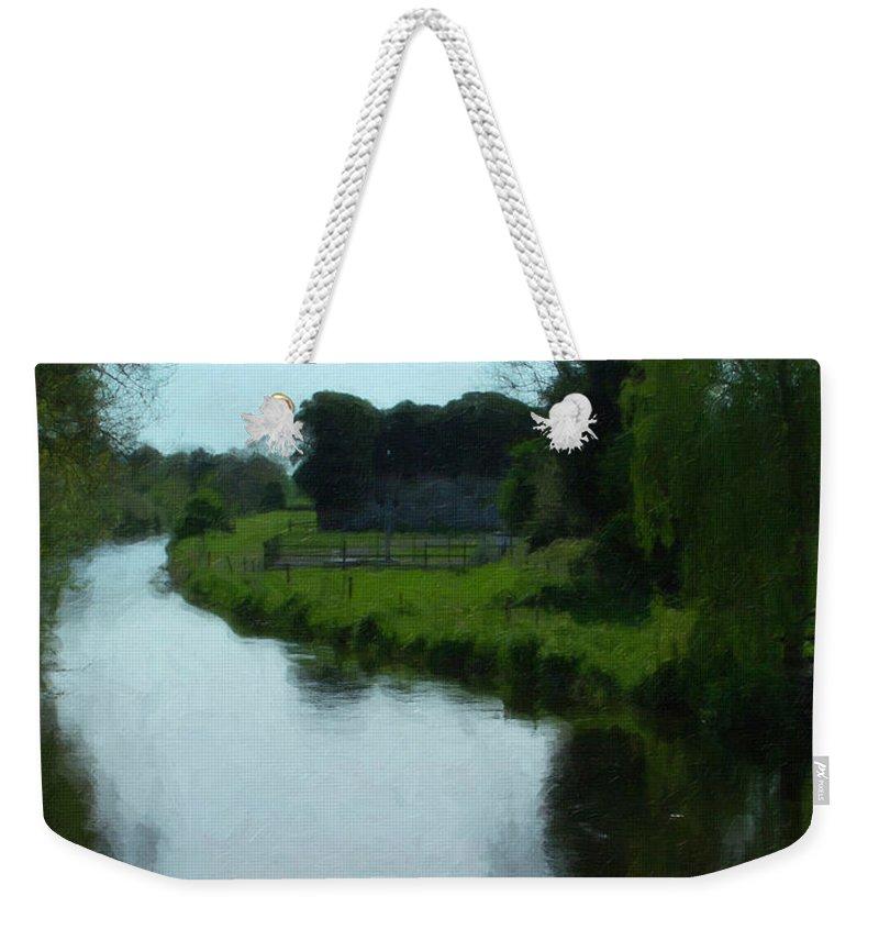 Little Brosna River Weekender Tote Bag featuring the painting Little Brosna River Riverstown Ireland by Teresa Mucha