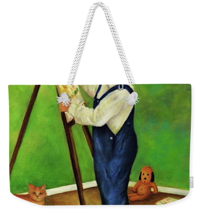 Boy Weekender Tote Bag featuring the painting Little Craig by Carolyn Shireman