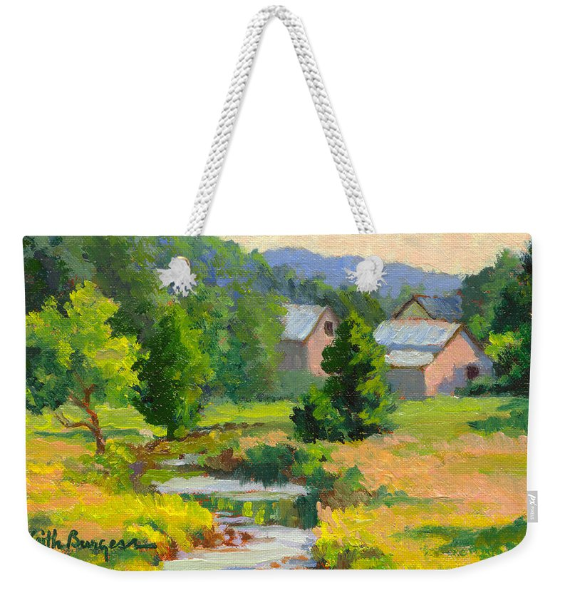 Landscape Weekender Tote Bag featuring the painting Little Creek Farm by Keith Burgess