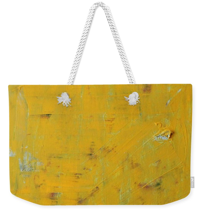 Yellow Weekender Tote Bag featuring the painting Little Dab Will Do Ya by Pam Roth O'Mara