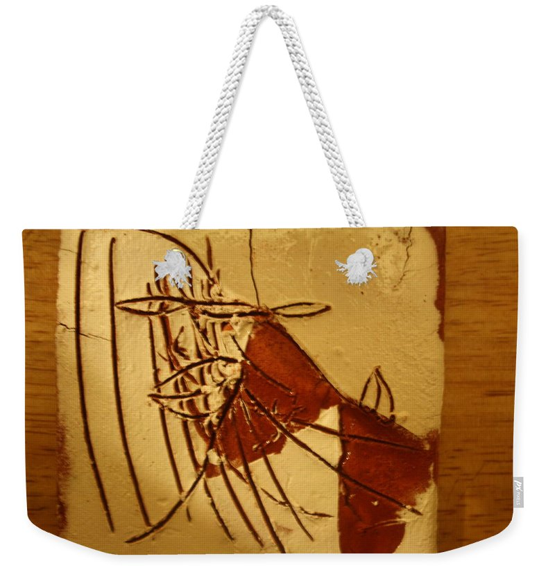 Jesus Weekender Tote Bag featuring the ceramic art Little Dear - Tile by Gloria Ssali
