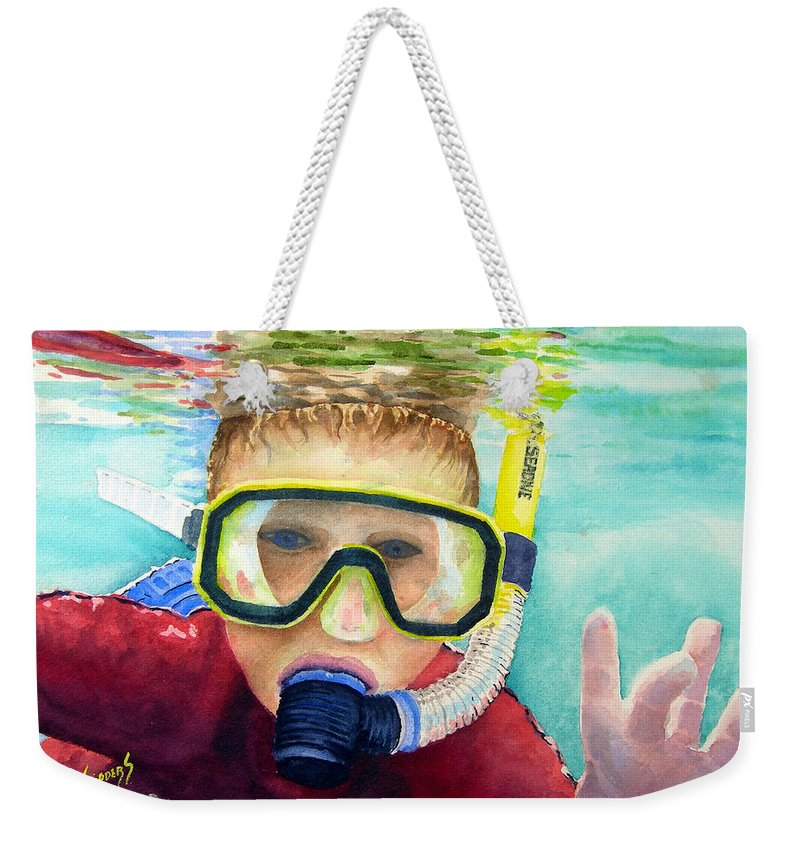Diver Weekender Tote Bag featuring the painting Little Diver by Sam Sidders