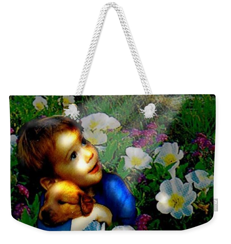 A Small Boy Loses His Puppy. Searches All Day. Finds Sick Puppy In The Rain. Now Both Are Lost Until Weekender Tote Bag featuring the digital art Little Dog Lost by Seth Weaver