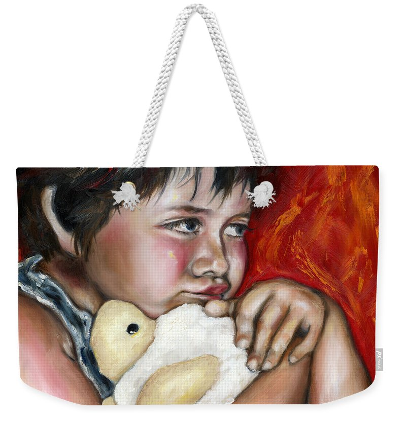 Cute Weekender Tote Bag featuring the painting Little Fighter by Hiroko Sakai
